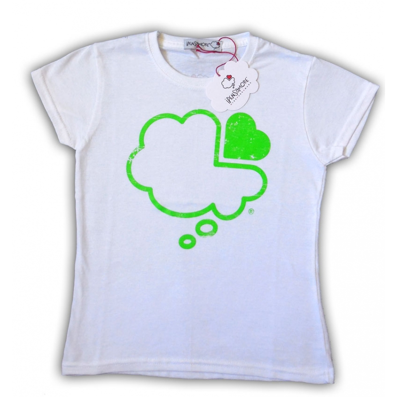 T-shirt bianca bambino maniche short nuvola verde fluo