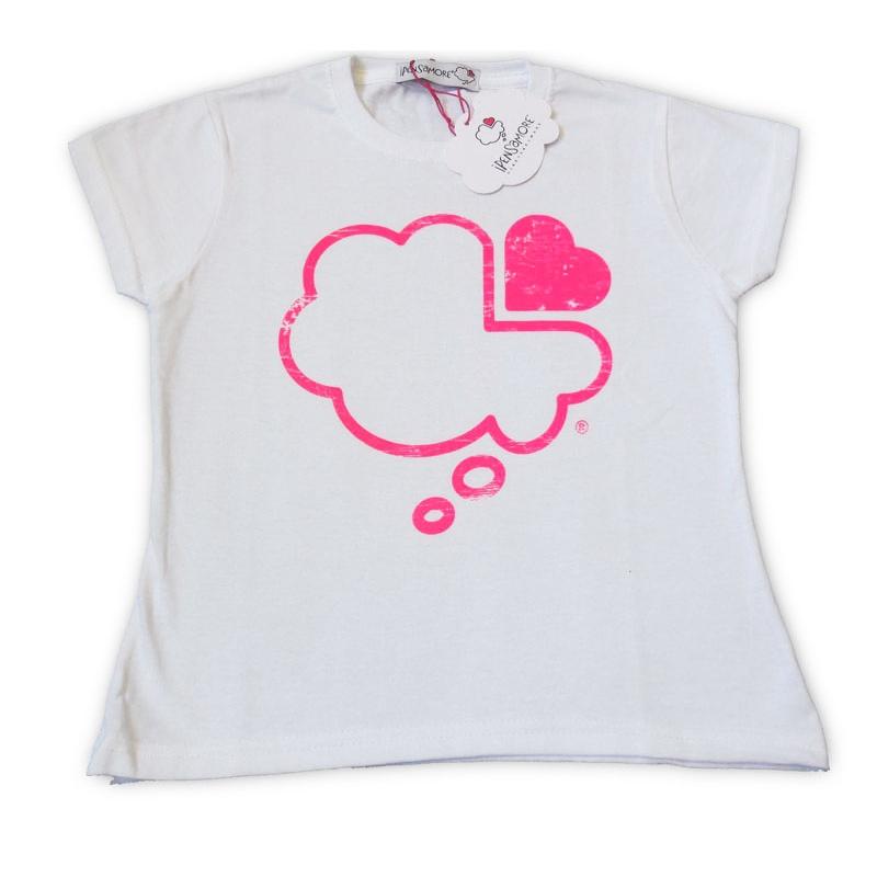 T-shirt bianca bambino maniche short nuvola fucsia fluo
